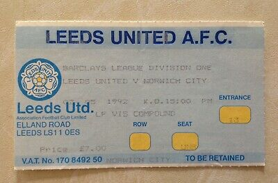 Leeds United v Norwich City Used Ticket Stub Barclays Division 02/05/92