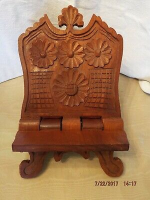 Hand Carved wood antique bookstand from Eastern Europe.  Excellent condition.