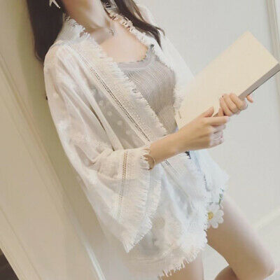 Summer Women Coats Sheer Lace Floral Loose Casual Chiffon Tassel Beach CardigSP