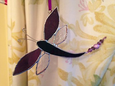 Handmade stained glass dragonfly suncatcher hanging brooch decoration gift