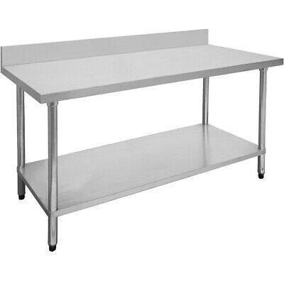 304 Grade Stainless Steel Prep Tables Bench with Splashback 600mm Depth