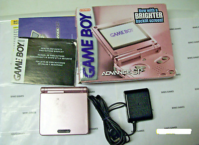 Gameboy Advance SP Handheld System Pearl Pink 101 Brighter Model COMPLETE IN BOX