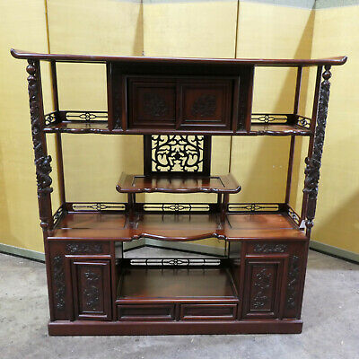 Japanese Cha Dana Tea Ceremony Cabinet Rosewood Shelves Decorative Carving #206