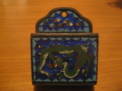 Rare Antique Japanese Cloisonne Enamel  Dragon Match Holder/Striker