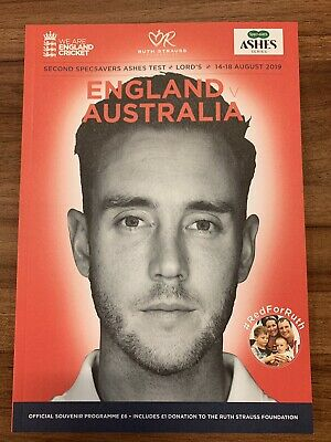 England V Australia Ashes Test Programme 14-18 August 2019 Lords