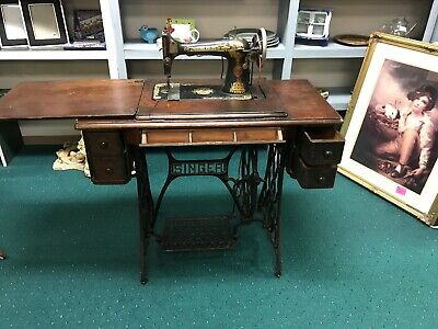 Antique Singer Sewing Machine Pedal Power with Cabinet and Cast Iron Frame