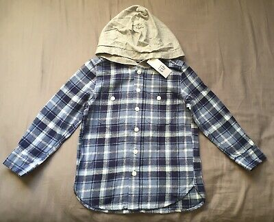 Toddler Boy Size 4 4T Baby Gap Blue Plaid Hooded Button Up Flannel Shirt
