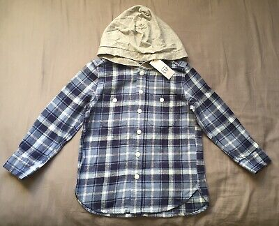 Toddler Boy Size 5 5T Baby Gap Blue Plaid Hooded Button Up Flannel Shirt