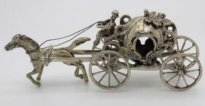 Vintage Solid Silver Italian Made Princess Carriage Figurine Miniature Hallmarks