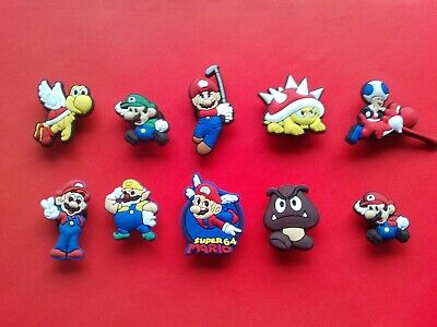 10 Super Mario & Friends cute jibbitz crocs shoe charms loom bands cake toppers