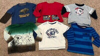 EUC Lot Of 6 Long Sleeve Baby Boys Shirts Tops Size 9-12 Months Cherokee