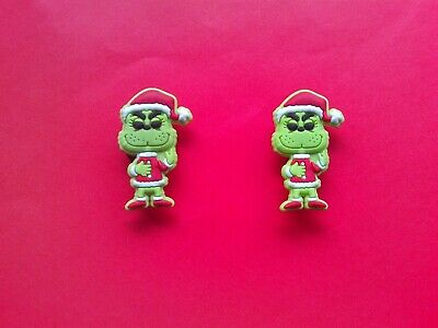 2 The Grinch jibbitz crocs shoe charms wrist hair loom bands cake toppers