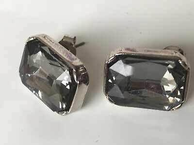 Capiz Lovely Large Smokey Silver Square Faux Quartz Crystal Statement Earrings
