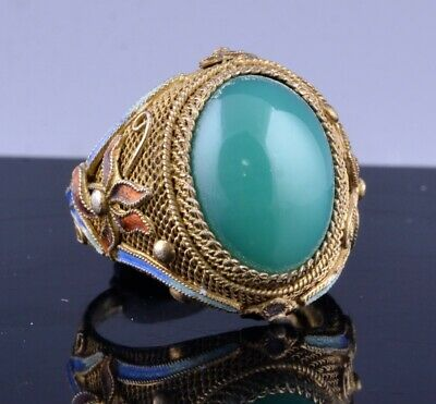 Fine Quality Chinese Gold Gilt Filigree Silver & Enamel Green Jade Agate Ring