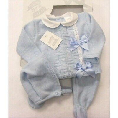 Ninas Y Ninos Baby Boys Girls Spanish Romany Set Blue Knitted Bows Jumper Outfit
