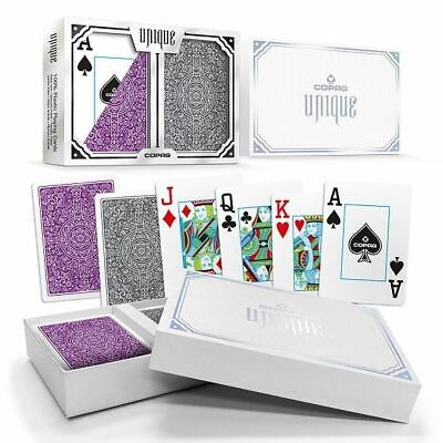 Copag Unique Plastic Playing Cards Poker Size Jumbo Index Purple/Grey Double-Dec
