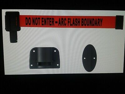 👉 Wall Mount Retractable Belt Barrier, Banner Stakes  Do Not Enter - Arc Flash