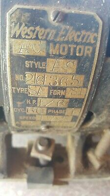 Vintage Antique Western Electric 110V  AC Motor 1725 RPM PAT'D 1905 ? WORKING !!