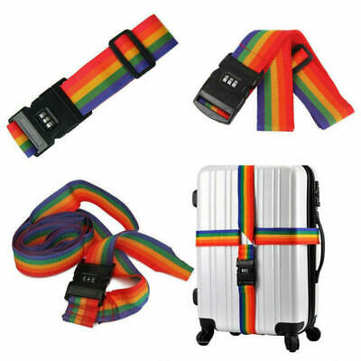 2x 2M Password Lock Luggage Suitcase Backpack Bag Strap Band Belt Rainbow SLW