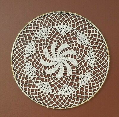 Spinning Flower Crochet Doily Wall Hanging Dream Catcher in 12 inch Ring, New