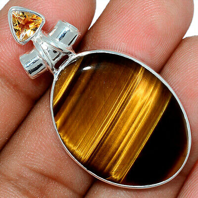 Tiger Eye - South African & Citrine 925 Sterling Silver Pendant Jewelry AP101598