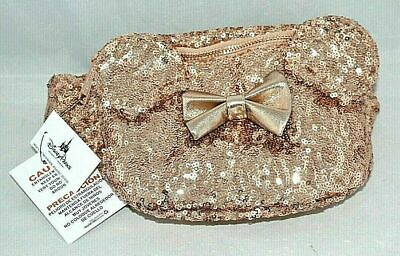 Loungefly Disney Parks Minnie Mouse Rose Gold Sequined Waist Hip Fanny Pack Bag