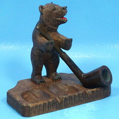 Antique Swiss Black Forest Wood Carved PIPE HOLDER/DISPLAY/STAND BEAR Brienz