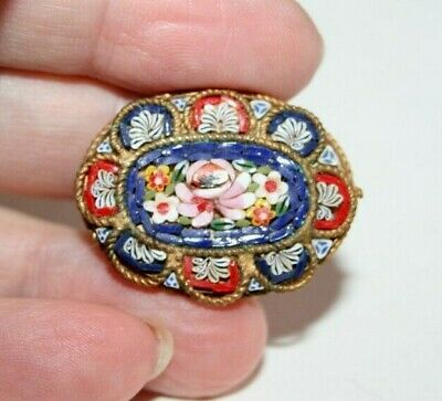 ANTIQUE VICTORIAN to ART DECO ERA COLOURFUL MICROMOSAIC BROOCH