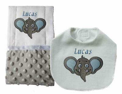 New Handmade Personalized Embroidered Gray Elephant Baby Boy Bib Burp Cloth Set