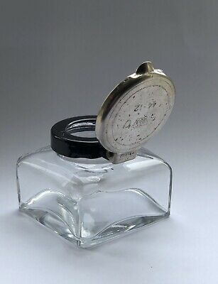 'Crown Supply Office' Lidded Glass Inkwell for Desk or Writing Slope. WW2?