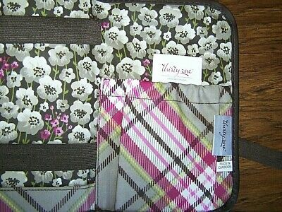 NEW! Thirty-One 31 Brown Floral Folding Cosmetic Make-Up Brush Organizer Case