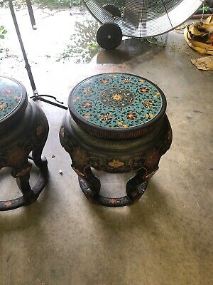 Pair Antique Chinese Cloisonne Top End Table/Stool