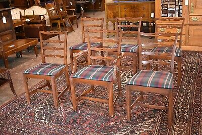 Set of 6 Vintage Upholstered Ladder Back Mahogany Dining Room Side & Arm Chairs
