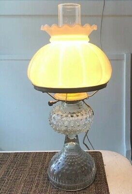 """Tested- Works! Antique Electric Lamp With Milk Colored Glass Shade 18"""" Tall"""