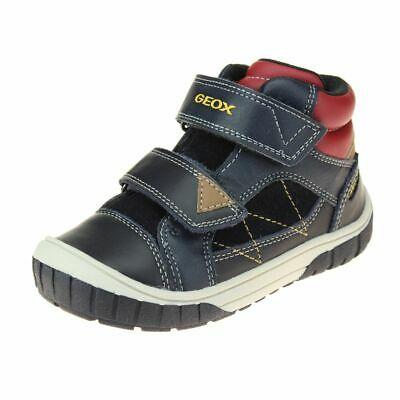 Geox Omar Boys Dark Navy-Red Shoe size eu kids children hook loop leather