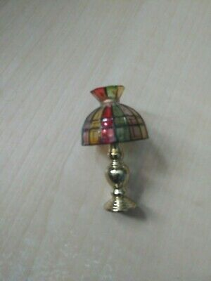 Brass Color Base wi Blue /& White Shade Miniature Table Lamp #G7992 Non-Elec
