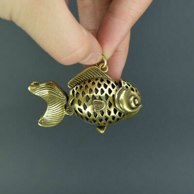 Chinese old collection handwork bronze luck hollow out Goldfish Pendant