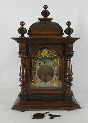 Antique c 1890-1910 GORGEOUS Junghans Mahogany Mantle Clock WORKING NICE NR yqz