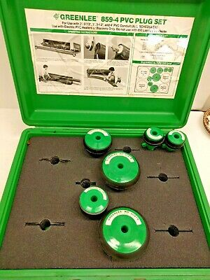 """Greenlee Model 859-4 PVC Pipe Plug Set 2""""-4"""" with Case"""