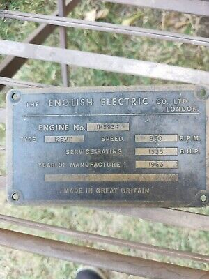 English Electric Engine Designation Plate Queensland Rail locomotive 1256