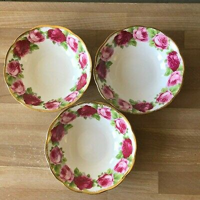 Lovely Set of 3 Royal Albert Old English Rose Cereal or Soup Bowls
