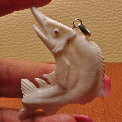 """Hand Carved Fish Natural Buffalo Bone 100% Solid 925 Sterling Silver Pendant 2"""""""