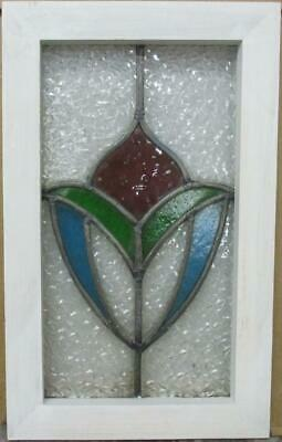 "OLD ENGLISH LEADED STAINED GLASS WINDOW Gorgeous Abstract Design 11"" x 18"""