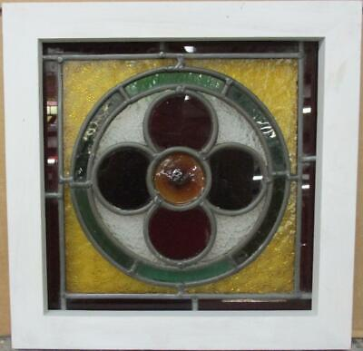 "VICTORIAN ENGLISH LEADED STAINED GLASS WINDOW Floral Bullseye 14.75"" x 14.75"""