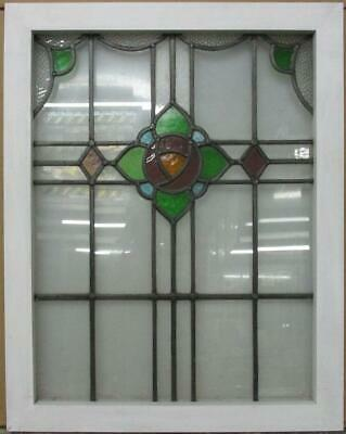 "MIDSIZE OLD ENGLISH LEADED STAINED GLASS WINDOW Mackintosh Rose 22.25"" x 28"""