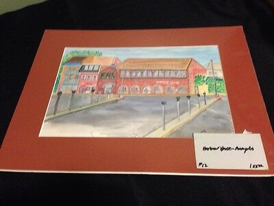 Annapolis Maryland Original Watercolor Signed Matted Harbour House Restaurant