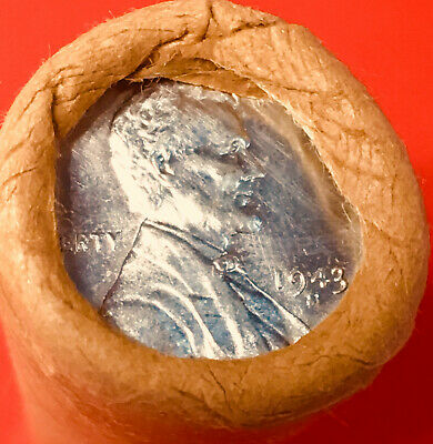 1943-S Steel / Bu Tails Wheat End Obw Original Bank Wrap Lincoln Weat Penny Roll