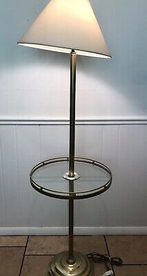 Rare Vintage Stiffel Br Finish Gl Side Table With Lamp