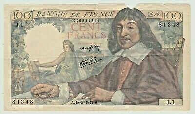 FRANCE 100 FRANCS of WWII (1942) with WINGED ANGEL + SHIELD & DESCARTES P # 101a