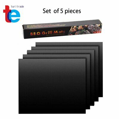 5 Copper Grill Mat BBQ Baking Non Stick Gold Black Pad Cooking Sheet Reusable